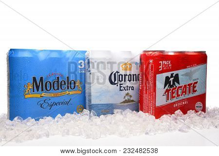 Irvine, California - March 21, 2018: Three Packs Of 24 Ounce Mexican Beers. Modelo Especial, Corona
