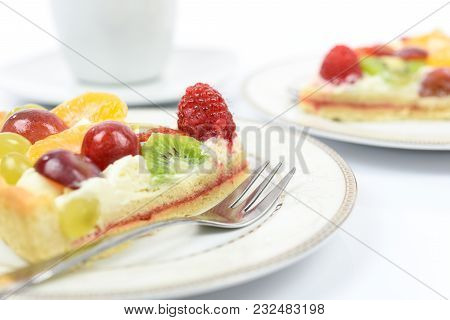 Conception Of Healthy Fruit Dessert - Fresh Homemade Multi Fruit Tart On Plates With Cup Of Coffee I
