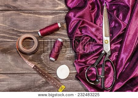 Still Life Of Objects For Sewing: Threads, Scissors, Centimeter, Pins.