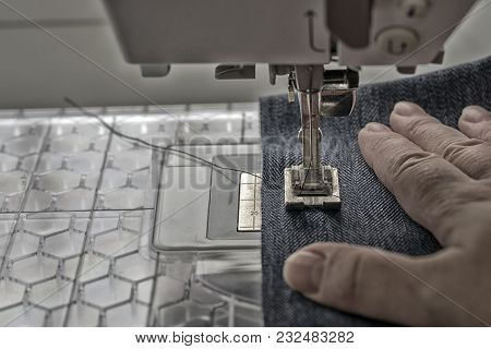 Sewing Machine Sews Denim Fabric Textile Jeans