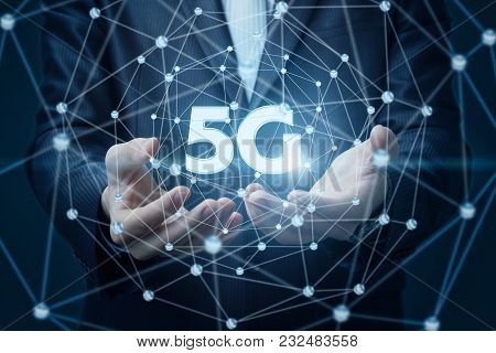 Businessman Showing Symbol 5g In Networking Concept Design .