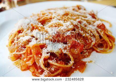 Portion Of Spaghetti Bolognese Closeup. A Traditional Dish Of Italian Cuisine