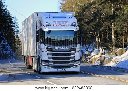 Salo, Finland - February 24, 2018: Next Generation Scania R450 Semi Trailer Of Schon Transport At Sp