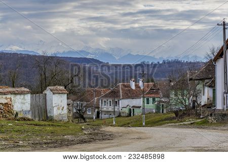 Abandoned Houses In Saxon Villages From Transylvania. Saxon Village In Transylvania Romania