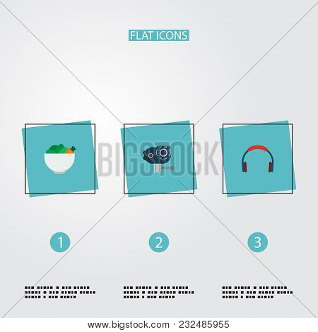 Set Of Trend Icons Flat Style Symbols With Bluetooth Headphone, Vegan, Action Cam And Other Icons Fo