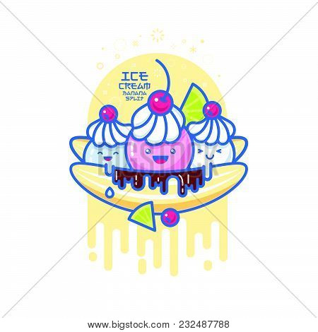 Kawaii Ice Cream Illustration. White Ie Cream With Orange And Cherries.