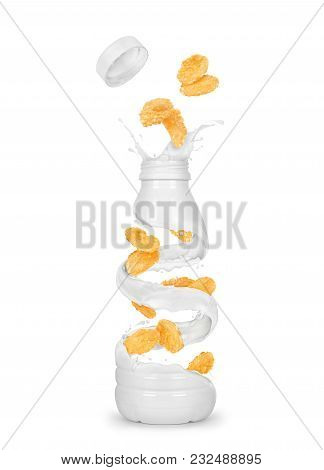 Oat Flakes In Milk Splashes, Conceptual Image Isolated On White Background