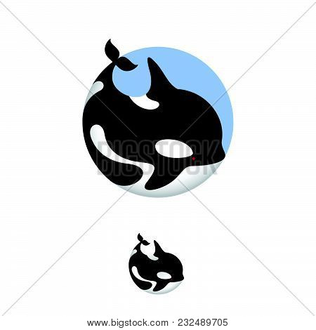 Orca Whale Illustration. Orca Icon. Ocean Animal Emblems. Whale In A Circle, Isolated, On A Blue Cir