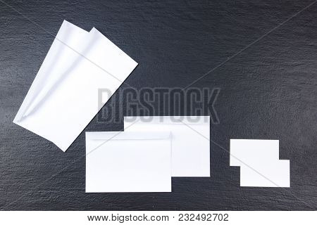 Corporate Stationery Set Mockup. Blank White Textured Brand Id Elements