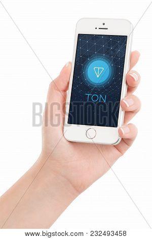 Varna, Bulgaria - January 23, 2018: Telegram Open Network Ton Logo White Paper On Iphone Display In