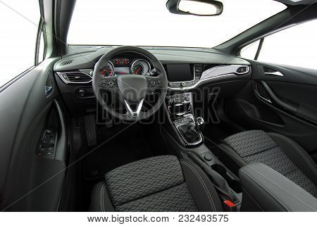 Studio Shot Passenger Car Interior, Front View