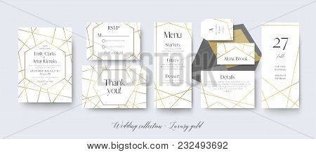 Wedding Invite, Rsvp, Menu, Thank You Cards Delicate Design With Golden Foil Graphic Stripes & Geome