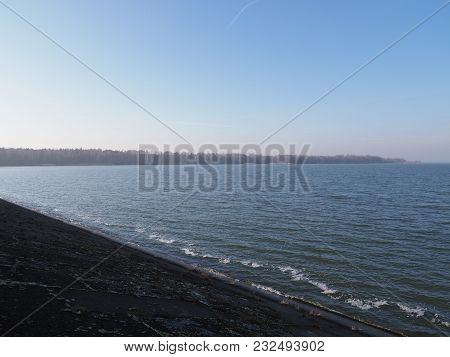 Lakeside Landscapes Of Artificial Water Goczalkowice Reservoir In Poland With Waterfront And Clear B