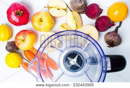 Empty Blender And Various Fruit For Making A Perfect Smoothie