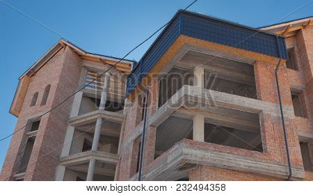 Building A New House , A New Building , A Colorful Home For Life. Residential Area Development. Real