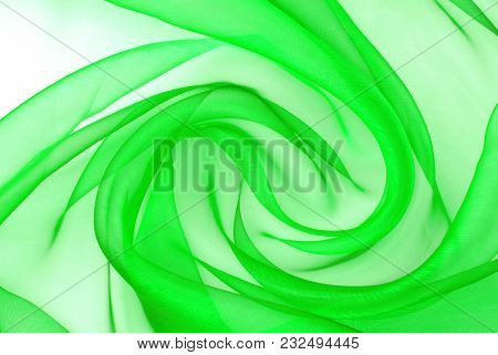 Abstract Of The Green Organza Fabric Wavy Texture