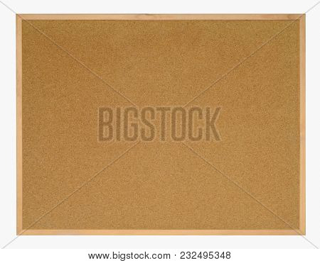 Blank framed cork board. Isolated on white background with path.
