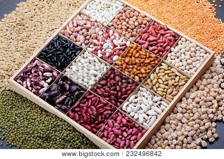 Different Types Of Legumes. In Wooden Box.varieties Of Beans.small Red Bean, Scarlett Runner Bean Ph