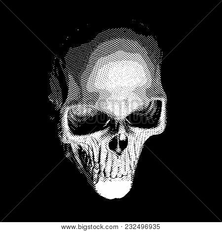 Human Skull, Full Face, Engraved On Black Background, Vector Illustration