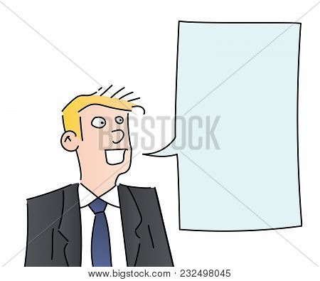 Businessman Speaking With Space For Text. Vector Illustration