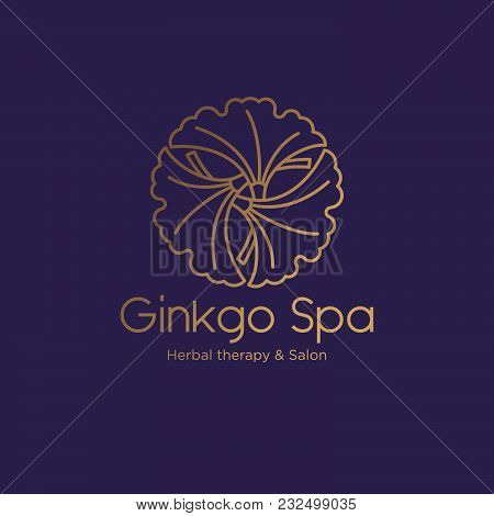 Ginkgo Spa Salon Logo. Spa Emblem. Ginkgo Leaves In A Circle With Letters.