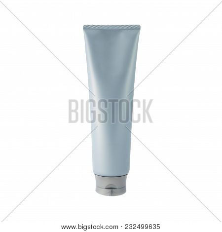 Light Blue Cosmetic Tube Pack Of Cream Or Gel. Ready For Your Package Design. Isolated On White Back