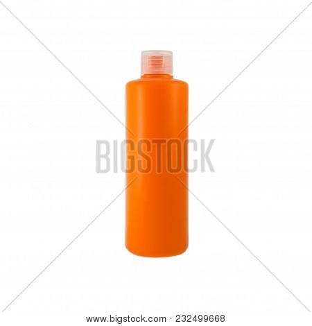 Orange Cosmetic Bottle Pack Of Shampoo Or Gel. Ready For Your Package Design. Isolated On White Back