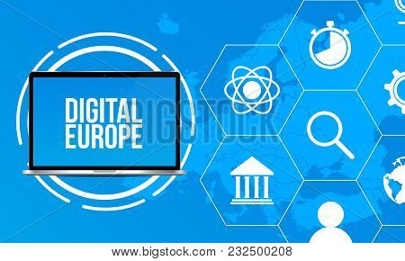 Europe Map With Trendy Icons And Realistic Laptop. Europe Data Graphic Visualization. Technological