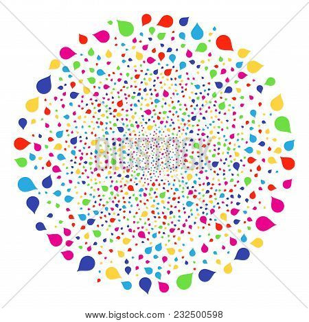 Colorful Drop Festive Sphere. Vector Sphere Burst Combined With Scatter Drop Symbols. Bright Vector
