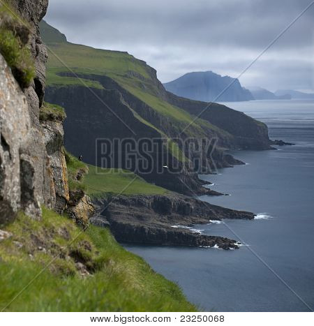 Scenic view of Mykines, Faroe Islands
