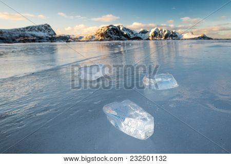 Pieces Of Ice On The Frozen Haukland Beach
