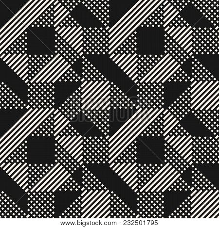 Vector Geometric Lines Pattern. Abstract Graphic Ornament With Stripes And Squares. Black And White