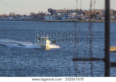 New Bedford, Massachusetts, Usa - March 19, 2018: Fishing Vessel Cynthia Lee Approaching Hurricane B