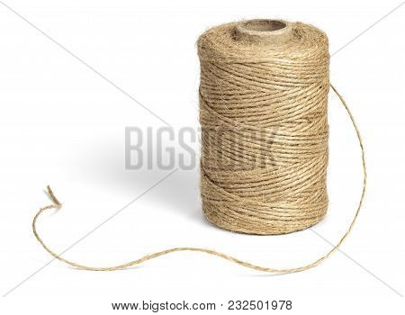 Coil Of Jute Rope For Packing, Isolated On A White Background.