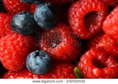 Raspberry and blueberry and strawberry close ups