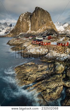 Hamnoy, Lofoten, Norway, View To The Shore With Red Cottages