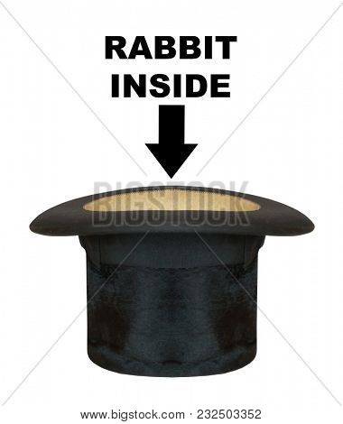 Empty magician hat with easy removable text. Object on white background.