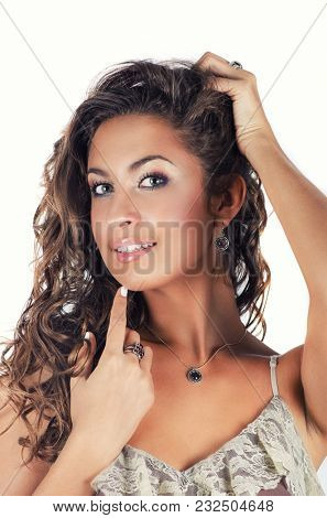 Young beauty lady portrait with luxury accessories isolated on white background