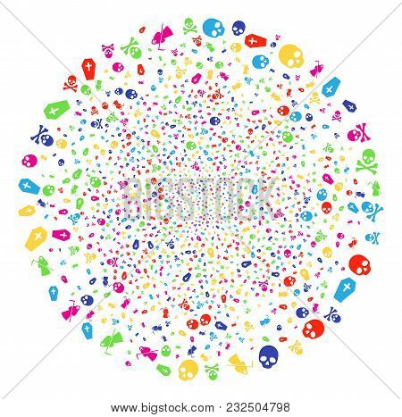 Psychedelic Death Explosion Cluster. Vector Round Cluster Salute Designed With Scattered Death Symbo