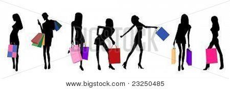 shopping bag girl illustration