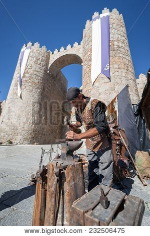 Craftsman Working Steel In The City Of Avila During The Medieval Days Celebrated On September 3, 201