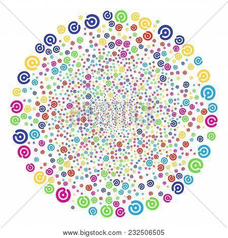 Bright Email Symbol Sparkler Globula. Vector Sphere Explosion Designed By Scattered Email Symbol Sym