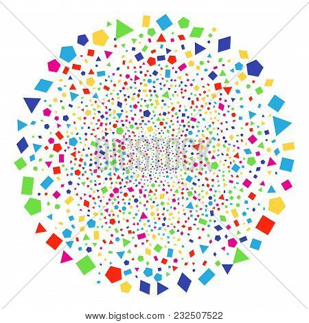 Bright Filled Geometric Polygon Burst Round Cluster. Vector Globula Salute Created By Random Filled