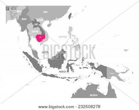 Vector Map Of Cambodia. Pink Highlighted In Southeast Asia Region.