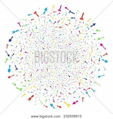 Multicolored Gardening Tools Sparkler Globula. Vector Sphere Bang Created With Scattered Gardening T