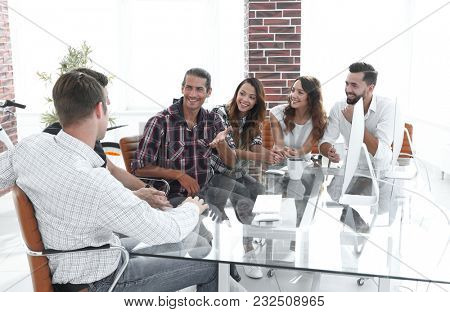 creative team discussing business issues sitting