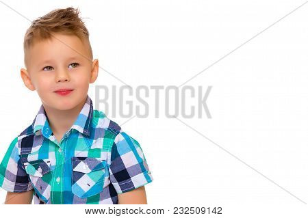 Cute Little Boy Studio Portrait Close-up. The Concept Of A Happy Childhood, Advertising Goods. Isola