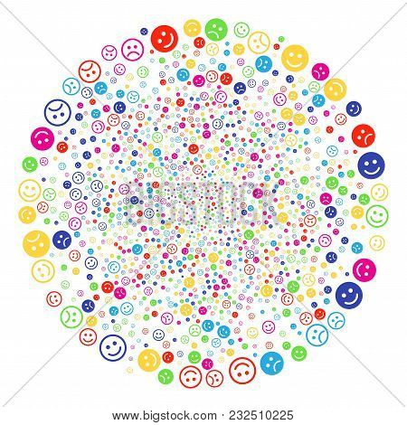 Colorful Glad And Sad Smiley Burst Cluster. Vector Round Cluster Salute Done From Scattered Glad And