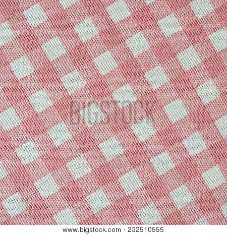 White And Pink Plaid Pattern Cotton Fabric Texture , Background