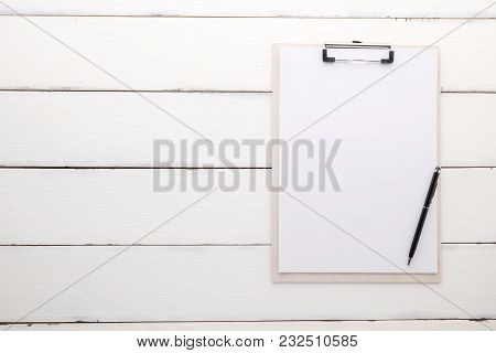 White Clipboard With Blank Paper And Pen On Vintage White Wood Background, Template, Mock Up